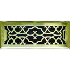 Solid Brass Victorian Metal Floor Vent Register Cover 100x300mm - ASFRSBV412
