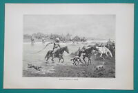 KYRGYZSTAN  fmr Russia Kyrgyz People on Horses Cross River - 1884 Antique Print