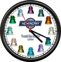 Hemingray Screw Glass Insulators CD154 Electrical Depression Sign Wall Clock