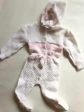 Nwt Vintage Knit Baby Romper One Piece Hooded White Pink 3-6 Months