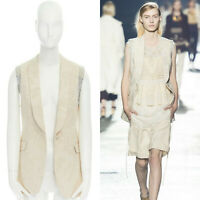 runway DRIES VAN NOTEN cream leaf brocade shawl collar exposed lining vest FR38