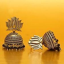 Gold Plated Oxidized Lotus Style Jhumka Bollywood Jhumki Dangle Earrings jewelry