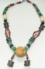 Vintage Carved Chinese Frog Jade Turquoise Coral Lapis Silver Big Bead Necklace