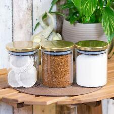 3 X BARATTOLI per lo stoccaggio di Vetro Oro Coperchi Tè Caffè Zucchero Barattoli Cucina Contenitori