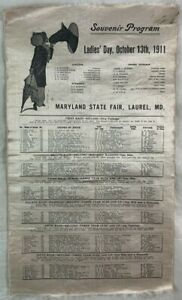 Antique Silk Horse Racing Program 10-13-1911 Maryland State Fair Laurel
