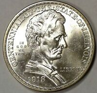 ***GEM BU SILVER COIN***1918 LINCOLN COMMEMORATIVE SILVER HALF DOLLAR #1051
