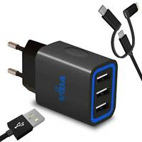 Super Rapide Multi 3 Port USB Chargeur Secteur Mural Adaptateur Pour Téléphone