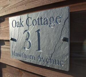Deep Engraved Natural Riven Slate House Door Sign Name Number Plaque