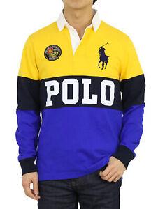 "Polo Ralph Lauren LS Long Sleeve Custom Slim Fit Panel Rugbies Polos w/ ""POLO"""