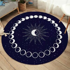 Eclipse Round Carpet Moon Star Carpet for Living Room Galaxy Non-slip Mat Rugs