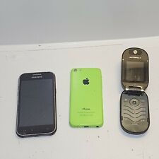 LOTTO 3X Cellulare Smart Phone IPHONE 5C SAMSUNG J100H MOTOROLA U6 pebal difettoso