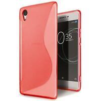 Handy Hülle für Sony Xperia E5 TPU Slim Case Silikon Cover Schutz Tasche Rot