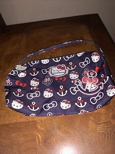 Rare Ju-Ju-Be Hello Kitty Large Anchor Out To Sea Sailor Purple Zippered Pouch !