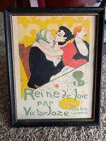 Vintage Reine De Joie Toulouse Lautrec Lithograph Framed