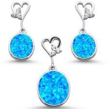 Oval Blue Opal & Cz With Heart Shape Dangle Earring & Pendant .925 Sterling Silv
