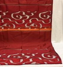 "Curtain 84"" x 56"" Panel Wine Red Orange Sheer & Solid Tab Top Modern Window"
