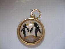 Penguins pendant. Very cute Reverse carved & painted vintage intaglio cabochon
