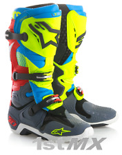 2018 Alpinestar Tech 10 UNION LE Motocross Boots RED BLUE FLO YELLOW UK8 US9