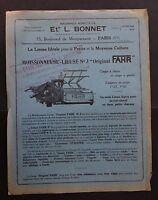 Catalogue publicité Machine agricole L. BONNET Paris Moissonneuse lieuse FAHR