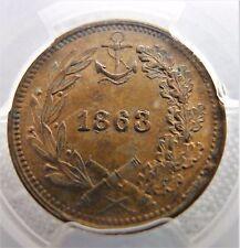 ✔ 1863 Civil War Token Our Little Monitor MS 63 RB PCGS F-239/422a ERROR Top Pop