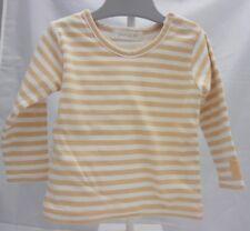 Grain de Blé-tee-shirt doublé manche longue blanc rayé beige garçon bébé 6 mois