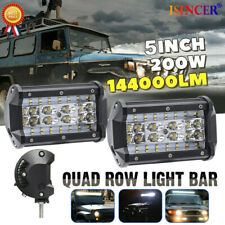 "2Pcs 5"" 200W LED Work Light Bar Flood Spot Pods Driving Off-Road Tractor 4WD 12V"