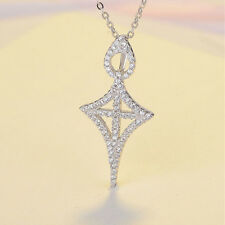 Women Cross Shield CZ Pendant 925 Sterling Silver Necklace Crucifix Chain Gifts