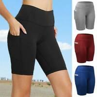 Womens High Waist Biker Shorts Pockets Yoga Gym Mid Thigh Bermuda Leggings Pants