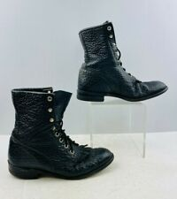 Ladies Justin Black Leather Lace-Up Roper Boots Size: 6 C