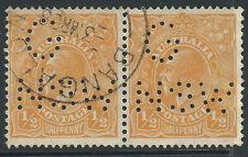KGV 1/2d Orange Australia C of A WMK G NSW Punctured Perfin BANGALOW NSW 1938