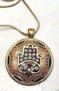 "Hamsa Gold Enamel & Rhinestone Medallion with 16"" Chain"