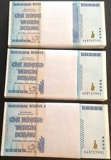 300 x ZIMBABWE $100 TRILLION DOLLARS - UNCIRCULATED - $100,000,000,000,000 P91