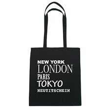 New York, London, Paris, Tokyo neutitschein - Borsa di iuta Borsa - colore: Nero