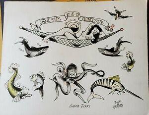 vintage original signed jack dracula coney island sideshow nyc tattoo flash