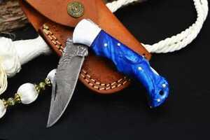 MH KNIVES RARE CUSTOM DAMASCUS STEEL FOLDING/POCKET KNIFE BACK LINER LOCK D-24F