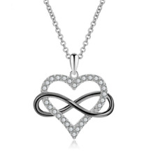 Two-Tone Sterling Silver Heart Infinity Cubic Zircon Pendant Necklace Gift S14