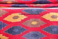 By Yard Ikat Print Cotton Indian Natural Sanganer Pink Fabric Sewing Accessories