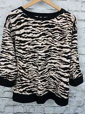 Jones NY Sport Womens Top Black Beige Brown Leopard Print Soft & Stretchy Size L