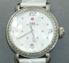 NEW! $1895 MICHELE  'CSX' Quilted Pearl Diamond-accented Watch MW03R01A1974