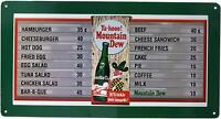 Mountain Dew Soda Menu Board Vintage Retro Tin Metal Sign 9 x 16in