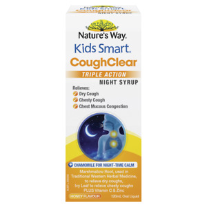 Nature's Way Kids Smart Cough Clear Triple Action Night Syrup 120mL Natures Way