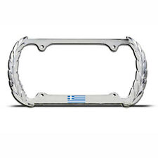 GREECE GREEK FLAG Chrome Heavy Duty Metal OLYMPIC License Plate Frame