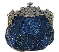 Vintage Style Navy Blue Satin Floral Hand Beaded Evening Bag