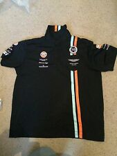 GENUINE USED ASTON MARTIN RACING GULF 2014 RACE POLO SHIRT Size = MEDIUM HACKETT