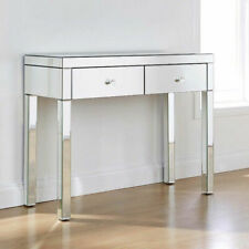 2Drawers Dresser Mirrored Dressing Table High Gloss Console Make-up Vanity Table