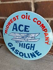 New ListingAce High Midwest Oil Company Gasoline Aviation Porcelain Gas Oil Sign No Reserve