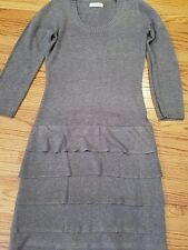 Calvin Klein Gray wool fringe skirt sweater Dress Sz XS crew neck 3/4 sleeve