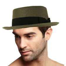 Men's Everyday Light Summer Ribbon Porkpie Boater Derby Fedora Sun Hat