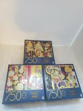 3 Gold Dore Puzzles 750 ea. Triangles,Composition w/ Wild Roses,Abstract Circles