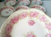 "7 Haviland Limoges Pink Drop Rose 5"" Sauce Berry Bowl France China Flowers Lot"